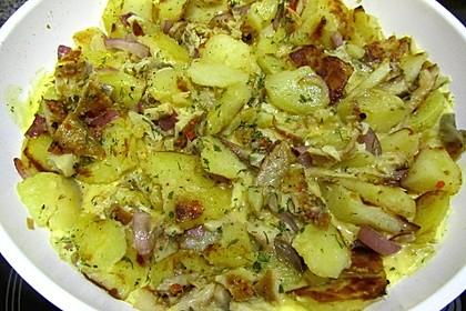 Kartoffel - Omelette mit geräucherter Forelle