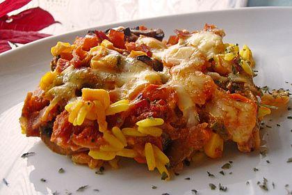 Rezeptbild zum Rezept Bunter Gemüseauflauf mit Paprika, Champignons, Schinken und Reis