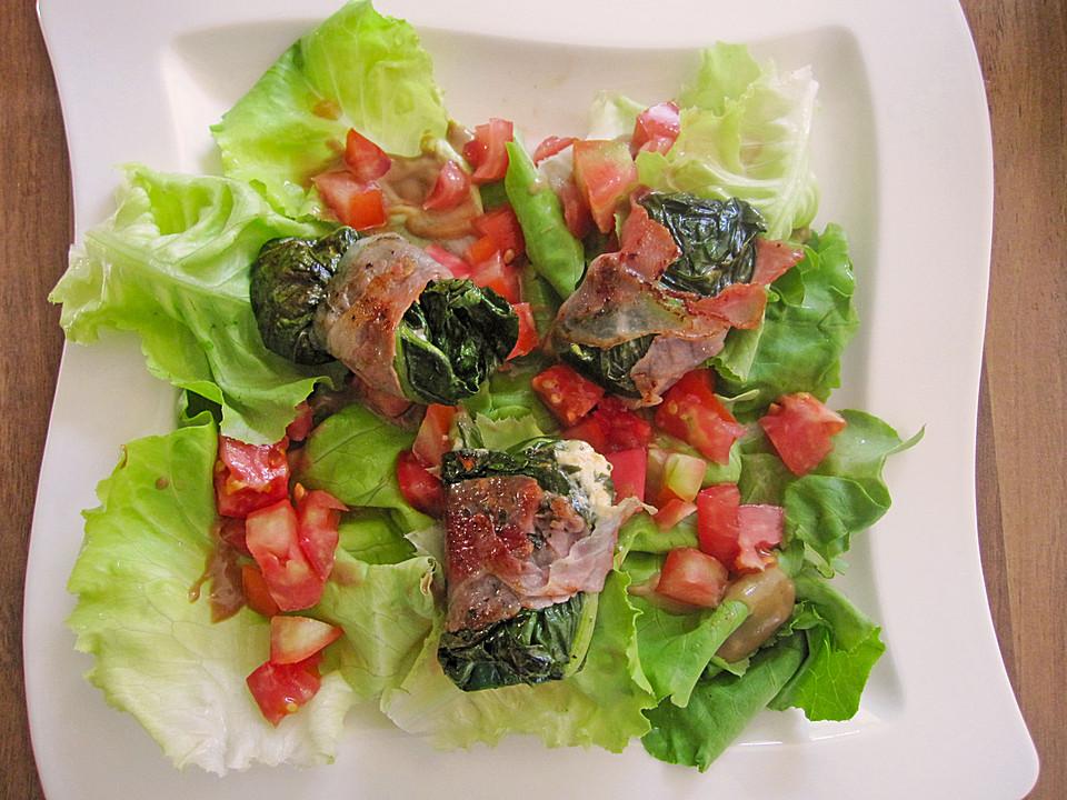 mangold ziegenfrischk se r llchen mit serranoschinken auf salat rezept mit bild. Black Bedroom Furniture Sets. Home Design Ideas