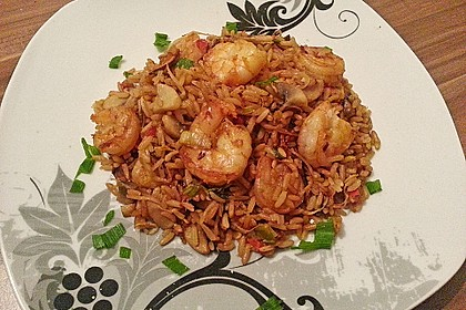 Asiapfanne mit Reis und Garnelen 4