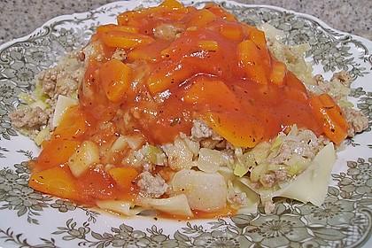 Bandnudeln mit Tomaten - Möhren - Sauce und Apfel - Porree - Schweinehack 1