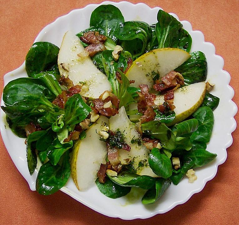 Feldsalat mit Birne, Bacon und Walnüssen von delia ...
