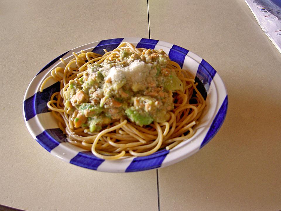 spaghetti mit lachs avocado sauce. Black Bedroom Furniture Sets. Home Design Ideas