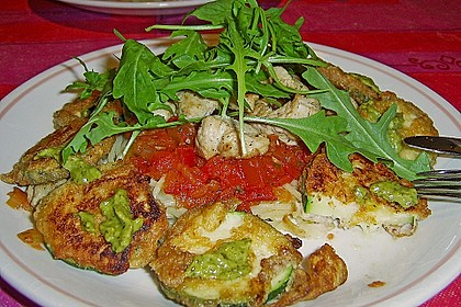 Zucchini – Piccata auf Tomatenkompott mit Rucolapesto und Nudeln 16