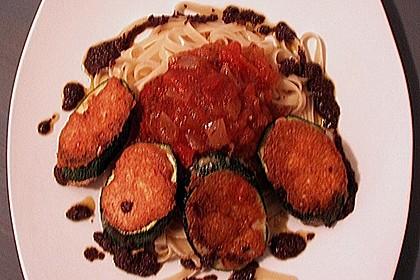 Zucchini – Piccata auf Tomatenkompott mit Rucolapesto und Nudeln 36