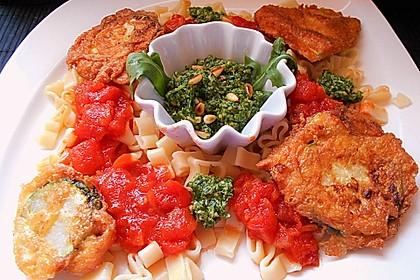 Zucchini – Piccata auf Tomatenkompott mit Rucolapesto und Nudeln 19