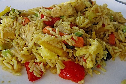 Gebratener Reis mit Huhn und Ei 2