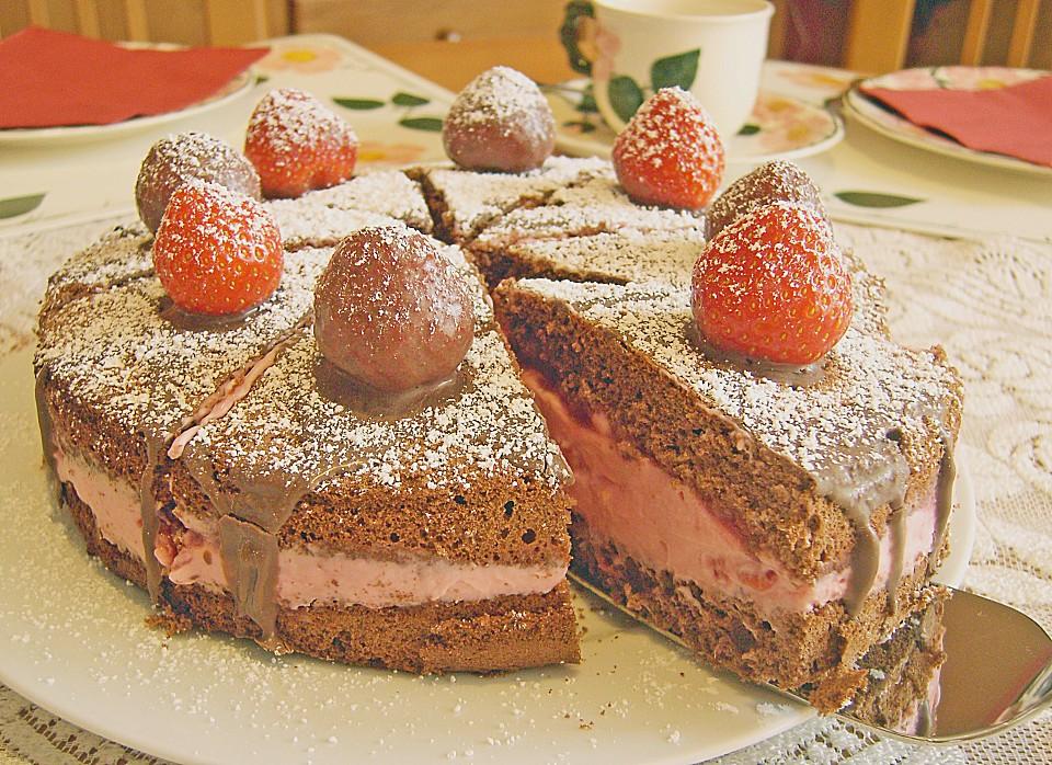 schoko nuss torte mit erdbeeren rezepte suchen. Black Bedroom Furniture Sets. Home Design Ideas