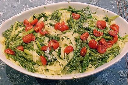 Bandnudeln mit Bärlauchpesto und frischen Tomaten
