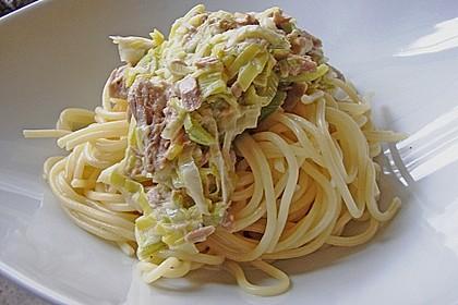 Feuermohns Pasta mit Thunfisch - Porree - Sauce 2