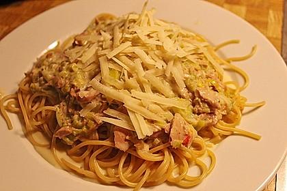 Feuermohns Pasta mit Thunfisch - Porree - Sauce 0