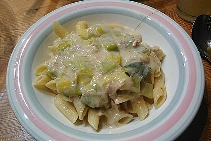 Feuermohns Pasta mit Thunfisch - Porree - Sauce 3