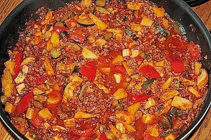 Gemüsetopf mit Paprika, Hackfleisch, Zucchini und Pilzen 1