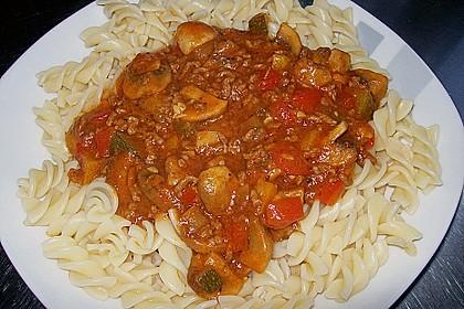 Gemüsetopf mit Paprika, Hackfleisch, Zucchini und Pilzen 7