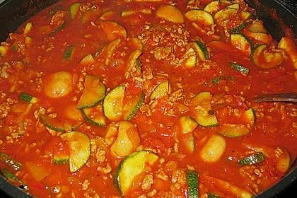 Gemüsetopf mit Paprika, Hackfleisch, Zucchini und Pilzen 5