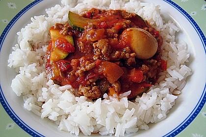 Gemüsetopf mit Paprika, Hackfleisch, Zucchini und Pilzen 2