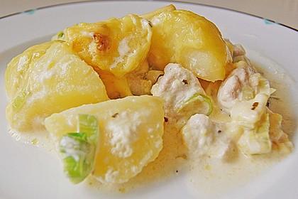 Gebackene Kartoffeln mit Lauch und Hähnchen 4