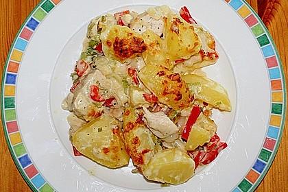 Gebackene Kartoffeln mit Lauch und Hähnchen 0