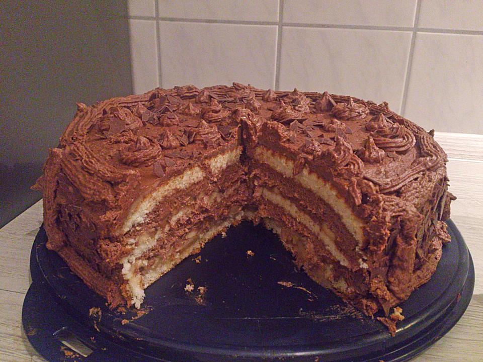 bananen schokoladen torte mit marzipandecke rezept mit bild. Black Bedroom Furniture Sets. Home Design Ideas