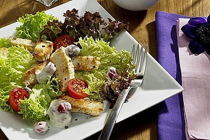 Blattsalate mit gebratenen Putenbruststreifen