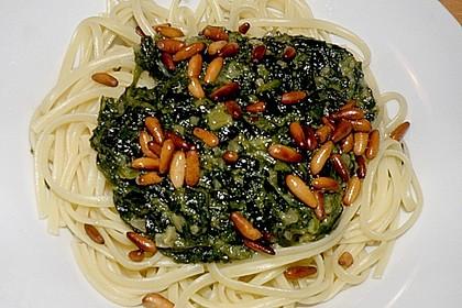 Spaghetti mit Spinat und Schafskäse 3