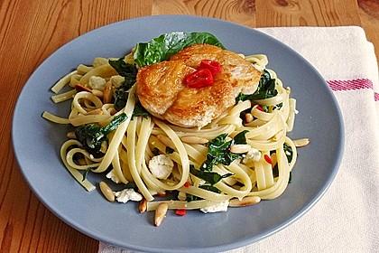 Spaghetti mit Spinat und Schafskäse 2