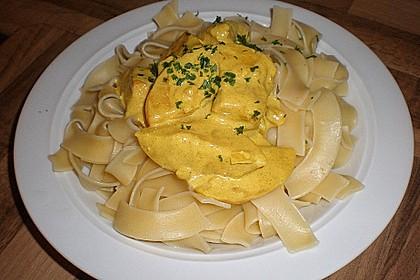 Hühnchen in Pfirsich - Curry - Rahmnudeln 4