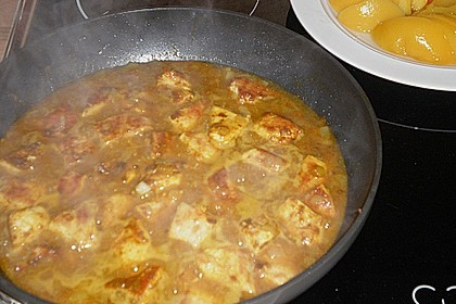 Hühnchen in Pfirsich - Curry - Rahmnudeln 14