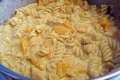 Hühnchen in Pfirsich - Curry - Rahmnudeln 3