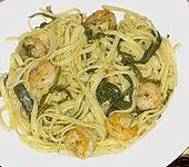 Spagetti mit Algen und Scampi (Bild)