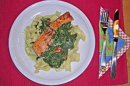 Lachs - Spinat - Nudeln 6