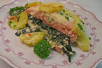 Spinat - Lachs - Kartoffelauflauf