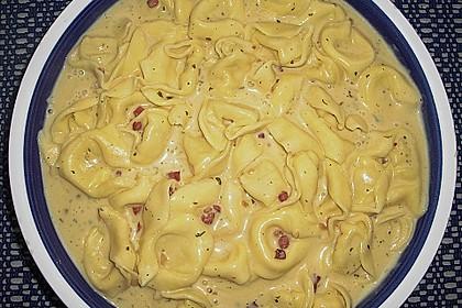 Spaghetti carbonara mit Speck und Petersilie 34