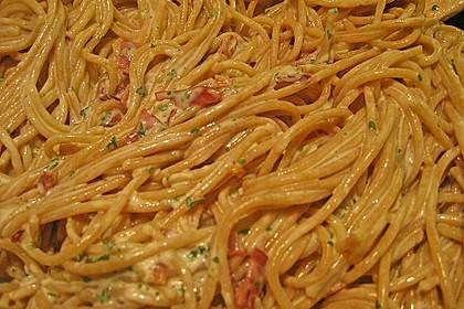 Spaghetti carbonara mit Speck und Petersilie 26