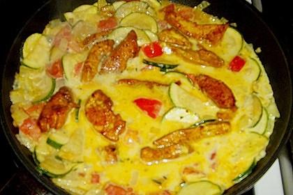 Urmelis Hähnchenbrust in Zucchini - Curry - Sahne - Sauce 65