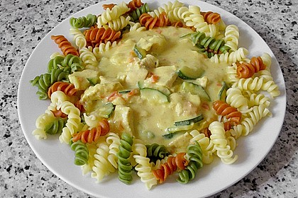 Urmelis Hähnchenbrust in Zucchini - Curry - Sahne - Sauce 14