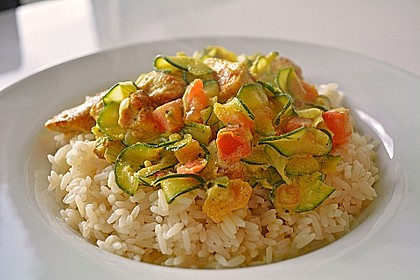 Urmelis Hähnchenbrust in Zucchini - Curry - Sahne - Sauce 1