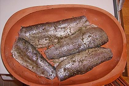 Gedünstete Forellen mit Reis und Spinat - Sauce 1