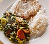 Putenschnitzel mit Apfel - Curry - Gemüse (Bild)