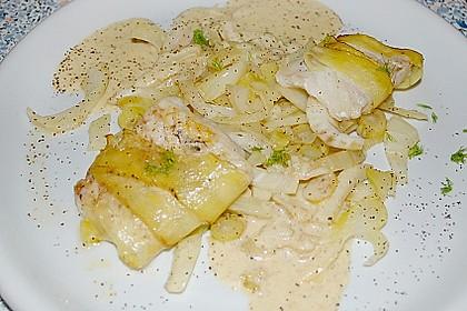 Zander im Kartoffelmantel auf Fenchelgemüse mit Senfsauce 8