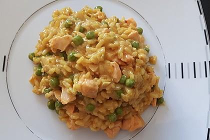 Curry - Risotto mit Kokosmilch, Lachs und Mandarinen 1