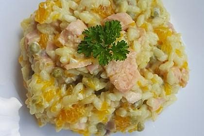 Curry - Risotto mit Kokosmilch, Lachs und Mandarinen 2