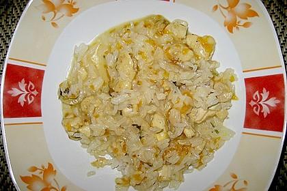 Curry - Risotto mit Kokosmilch, Lachs und Mandarinen 4