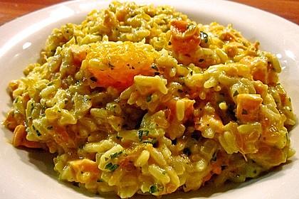 Curry - Risotto mit Kokosmilch, Lachs und Mandarinen 3