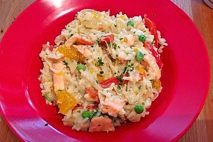 Curry - Risotto mit Kokosmilch, Lachs und Mandarinen 6