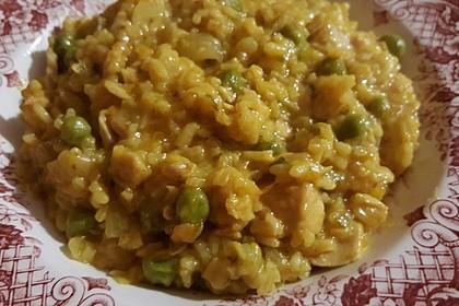 Curry - Risotto mit Kokosmilch, Lachs und Mandarinen 7