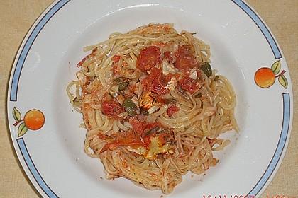Dieters Linguine mit würziger Camembert - Tomaten - Sauce 7