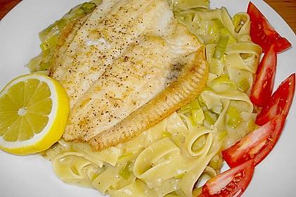 Fischfilet mit Porree - Nudeln 4