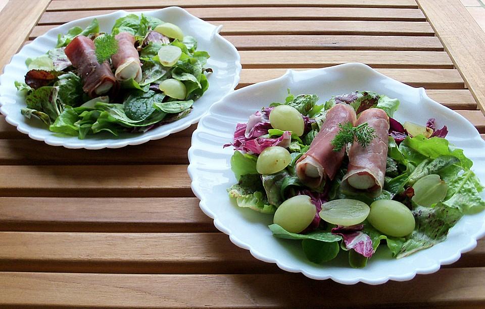 salat mit ziegenk se schinken r llchen rezept mit bild. Black Bedroom Furniture Sets. Home Design Ideas