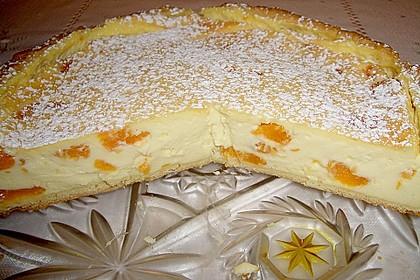 Mandarinen schmand kuchen mit vanillepudding